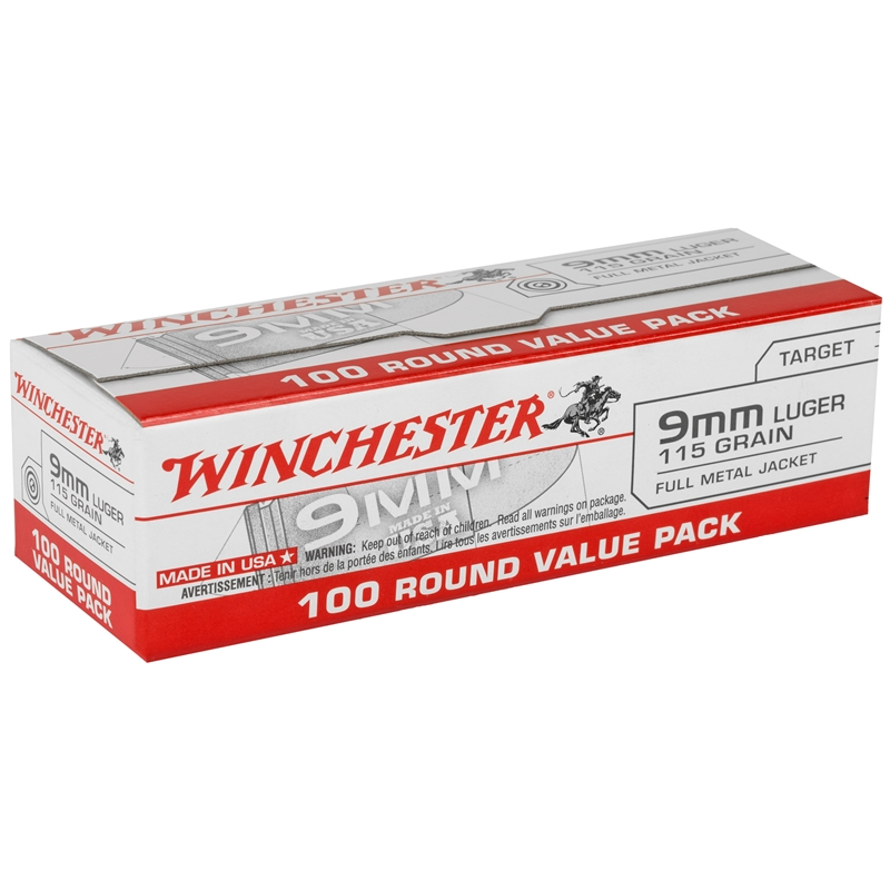 Winchester Ammo USA9MMVP USA  9mm Luger 115 gr Full Metal Jacket (FMJ) 100rd Bx